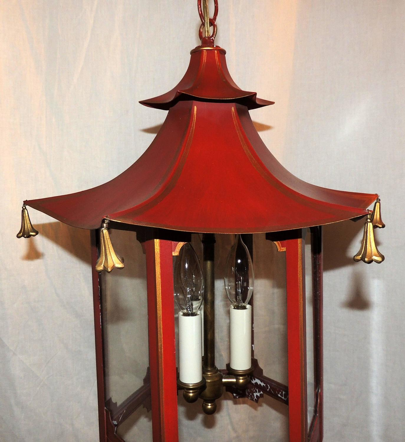 Vintage Chinoiserie Red Gold Gilt Pagoda Lantern Fixture