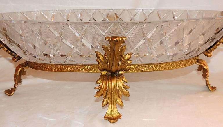 Wonderful French doré bronze and cut crystal ormolu swan centerpiece bowl.