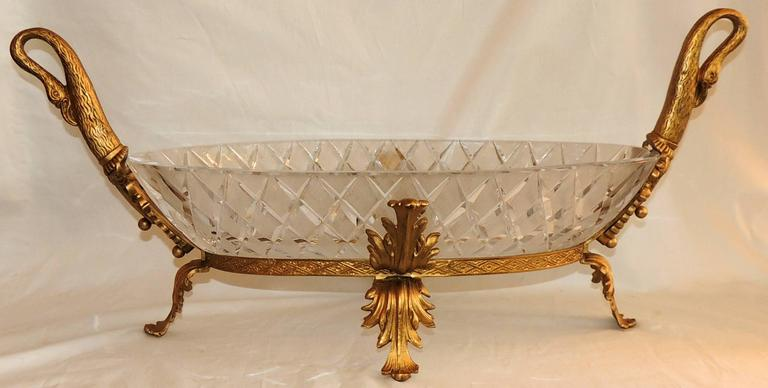 Wonderful French Doré Bronze and Cut Crystal Ormolu Swan Large Centerpiece Bowl For Sale 2