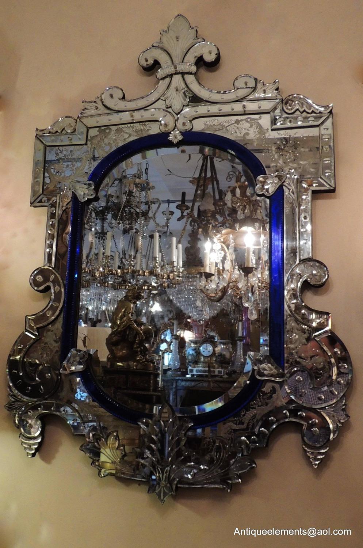 Wonderful Vintage Italian Blue Crystal And Beveled Glass