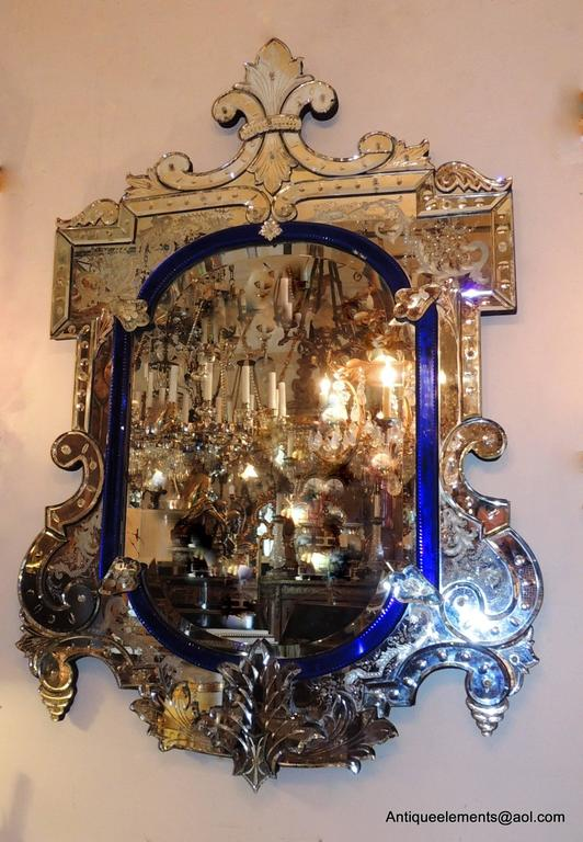 Wonderful Vintage Italian Blue Crystal And Beveled Glass