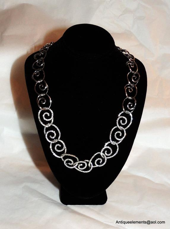 Italian Elegant 18-Karat White Gold & Diamond Encrusted Modern Necklace & Earring Set For Sale