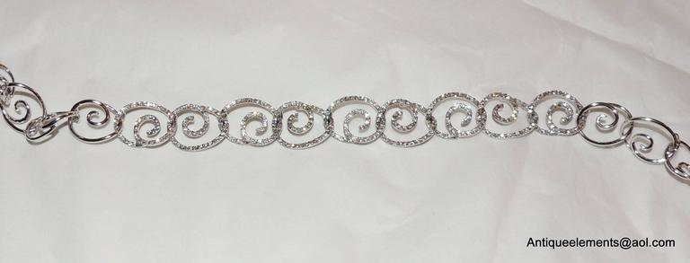 Elegant 18-Karat White Gold & Diamond Encrusted Modern Necklace & Earring Set For Sale 2