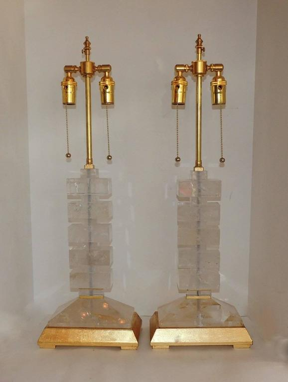 Modern Transitional Jansen Deco Pair of Gilt and Rock Crystal Bagues Lamps 2