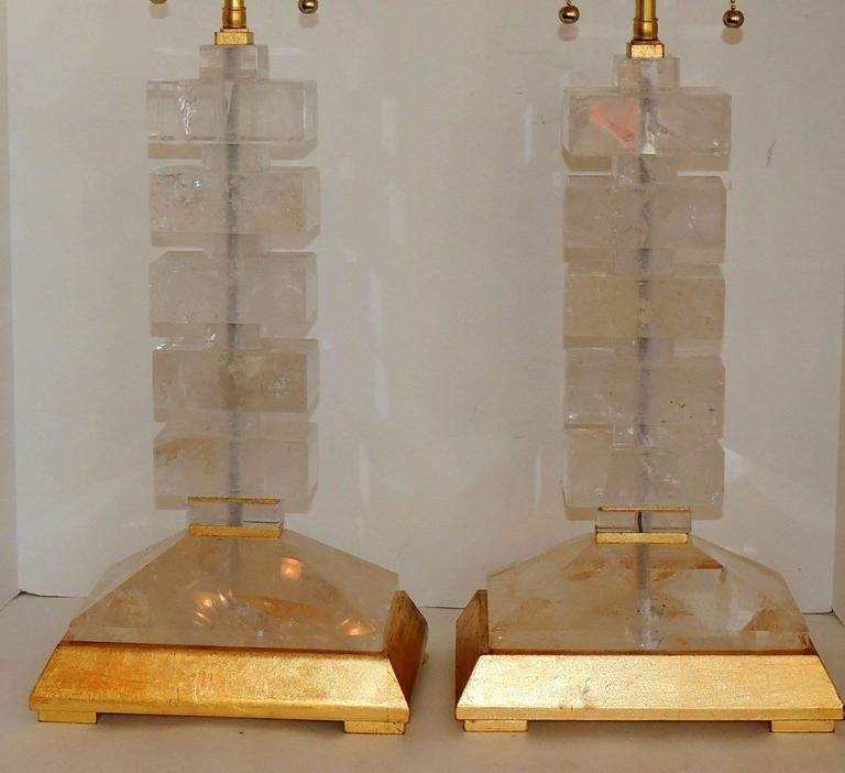 Modern Transitional Jansen Deco Pair of Gilt and Rock Crystal Bagues Lamps 4