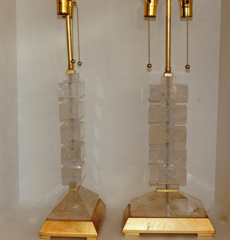 Modern Transitional Jansen Deco Pair of Gilt and Rock Crystal Bagues Lamps 7