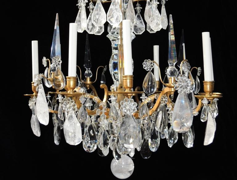 Magnificent French Dore Bronze Rock Crystal Louis XVI Fine Gilt Huge Chandelier For Sale 4