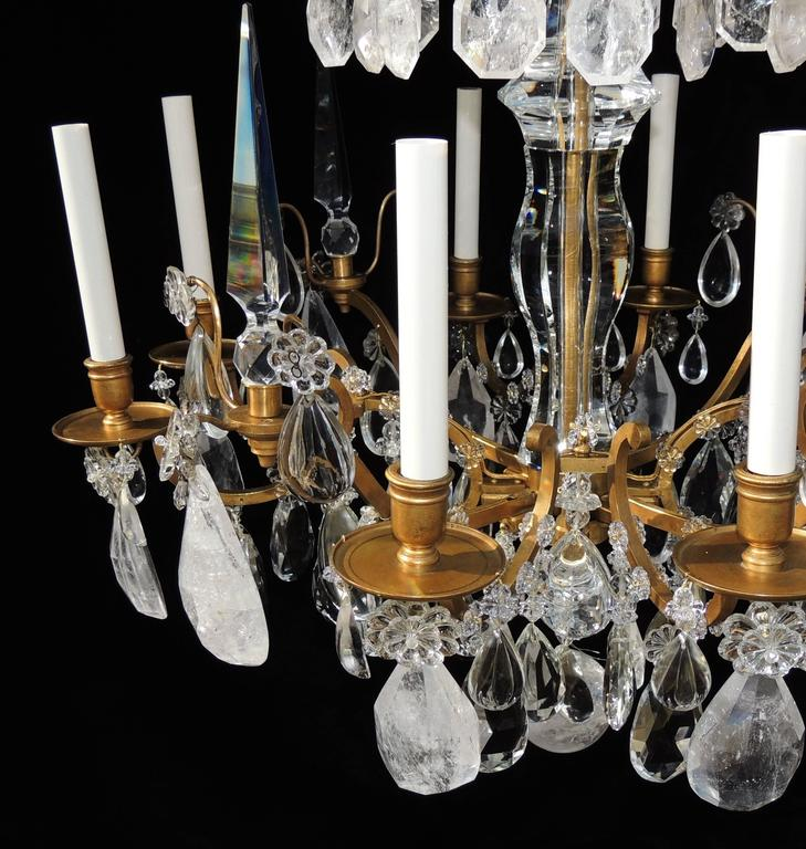 Magnificent French Dore Bronze Rock Crystal Louis XVI Fine Gilt Huge Chandelier For Sale 2