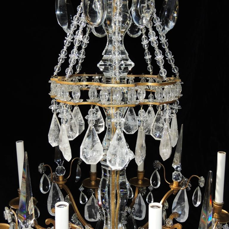 Magnificent French Dore Bronze Rock Crystal Louis XVI Fine Gilt Huge Chandelier For Sale 1