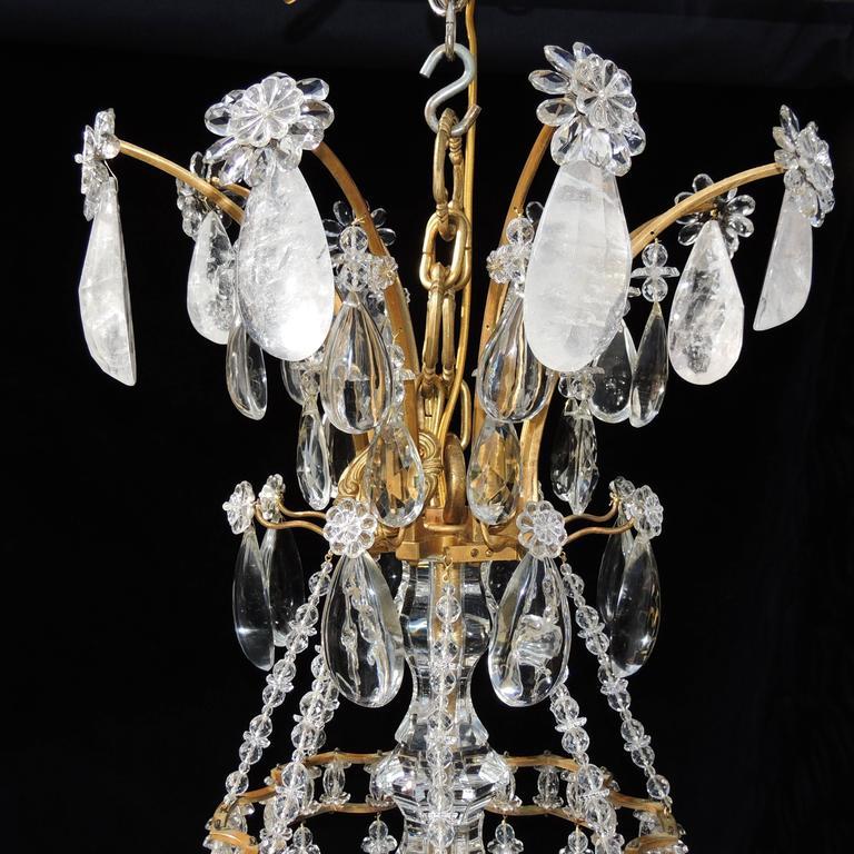 Magnificent French Dore Bronze Rock Crystal Louis XVI Fine Gilt Huge Chandelier 3