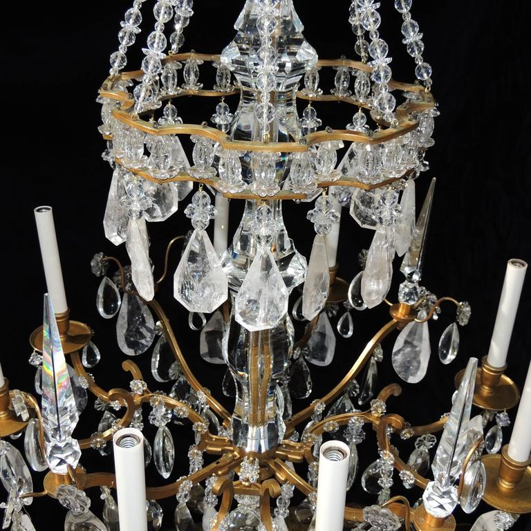 Early 20th Century Magnificent French Dore Bronze Rock Crystal Louis XVI Fine Gilt Huge Chandelier For Sale