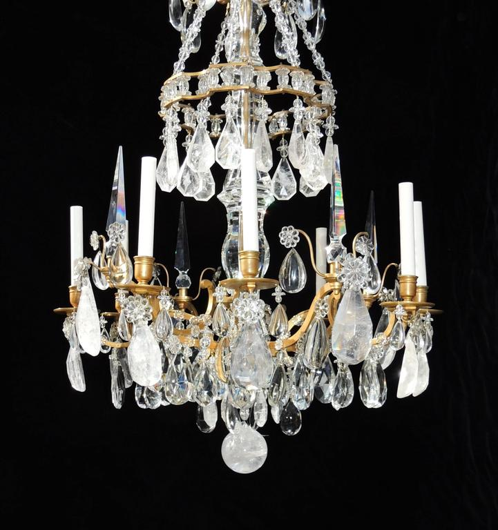 Magnificent French Dore Bronze Rock Crystal Louis XVI Fine Gilt Huge Chandelier For Sale 3