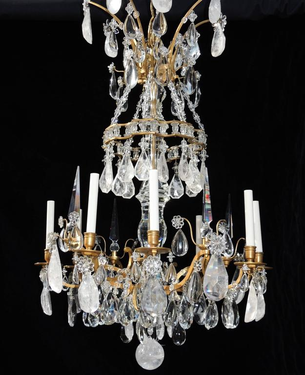 Magnificent French Dore Bronze Rock Crystal Louis XVI Fine Gilt Huge Chandelier For Sale 5