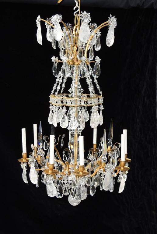 Magnificent French Dore Bronze Rock Crystal Louis XVI Fine Gilt Huge Chandelier For Sale 6