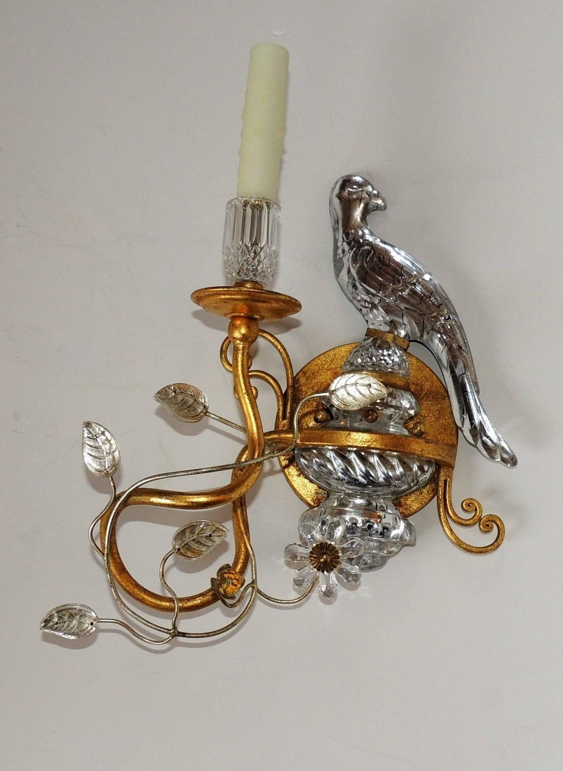 Wonderful Pair of Bagues Style Vintage Gilt and Rock Crystal Parrot Bird Sconces at 1stdibs