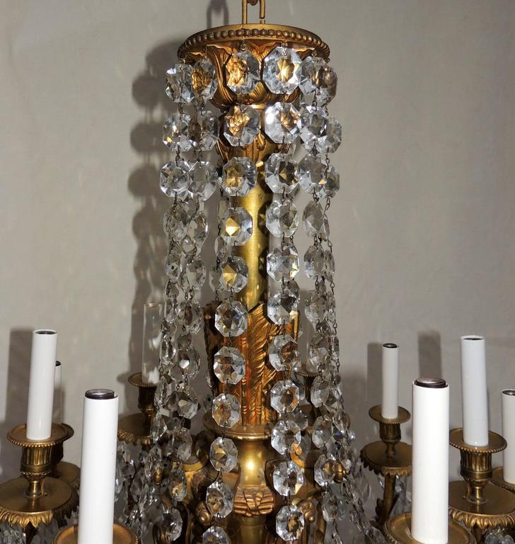 Neoclassical Beautiful French Empire Doré Bronze & Draped Crystal Eighteen-Light Chandelier For Sale