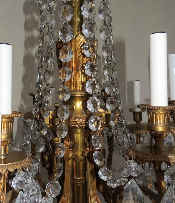 Gilt Beautiful French Empire Doré Bronze & Draped Crystal Eighteen-Light Chandelier For Sale