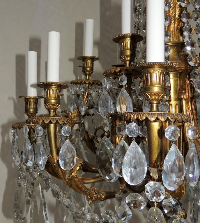 Beautiful French Empire Doré Bronze & Draped Crystal Eighteen-Light Chandelier In Good Condition For Sale In Roslyn, NY