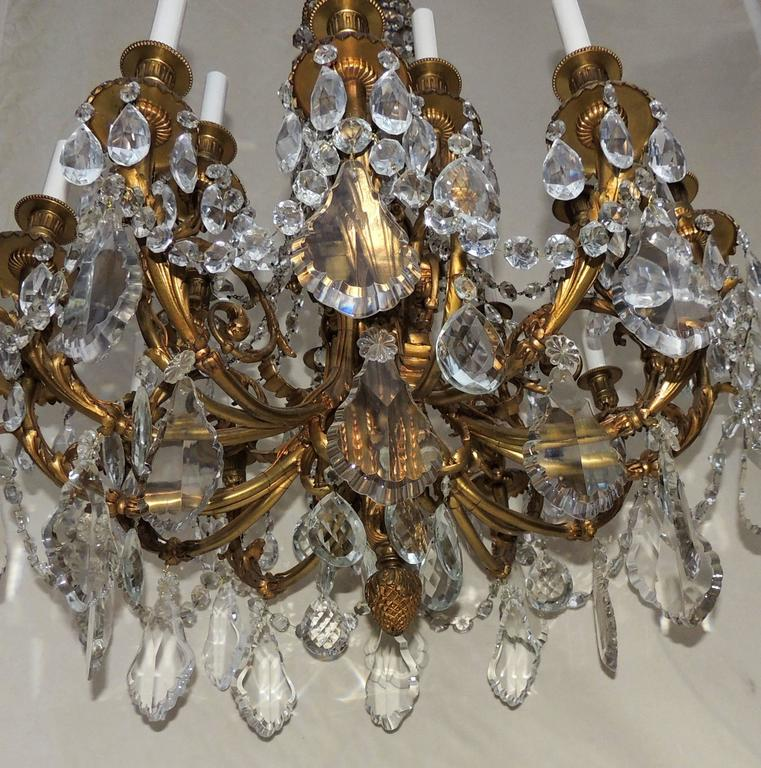 Early 20th Century Beautiful French Empire Doré Bronze & Draped Crystal Eighteen-Light Chandelier For Sale