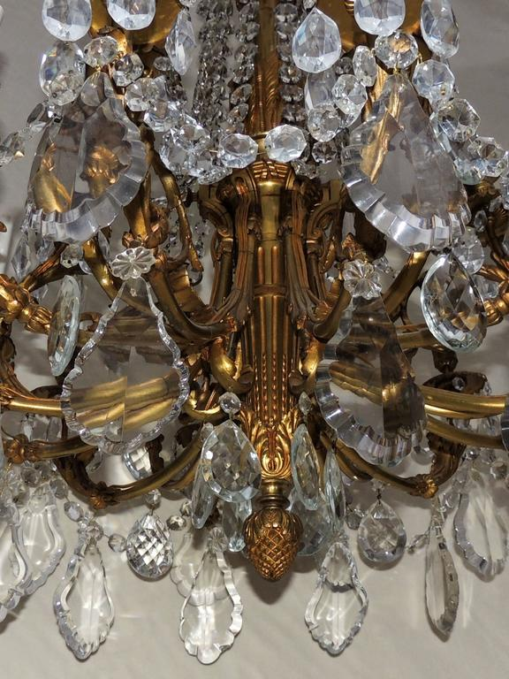 Beautiful French Empire Doré Bronze & Draped Crystal Eighteen-Light Chandelier For Sale 1