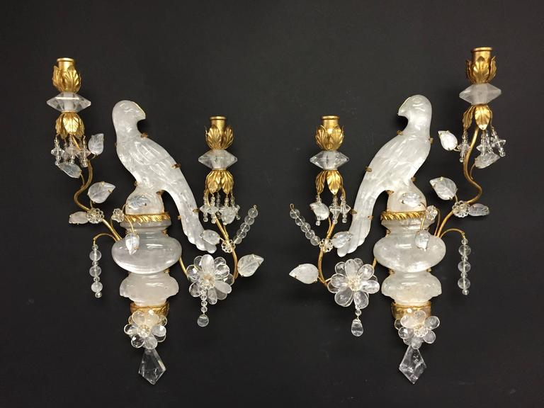 Wonderful Pair Of Gold Gilt Rock Crystal Bagues Bird