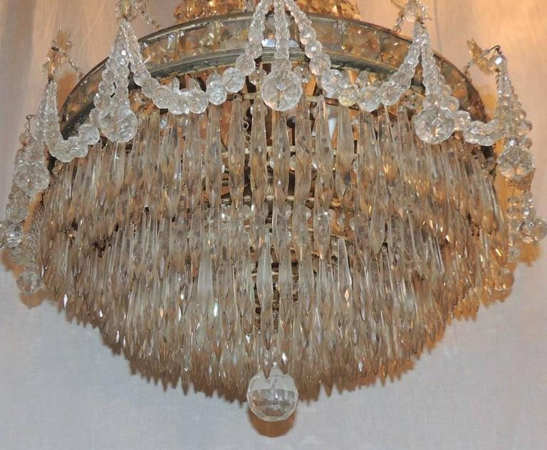 Wonderful French Silvered Bronze Graduated Crystal Tier Waterfall Chandelier For Sale 1