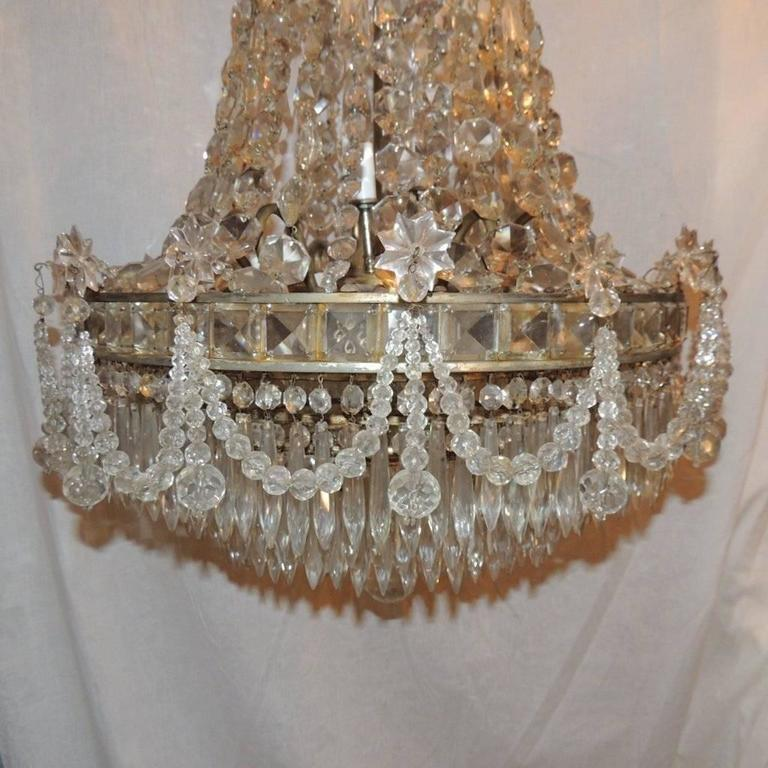 Wonderful French Silvered Bronze Graduated Crystal Tier Waterfall Chandelier For Sale 2