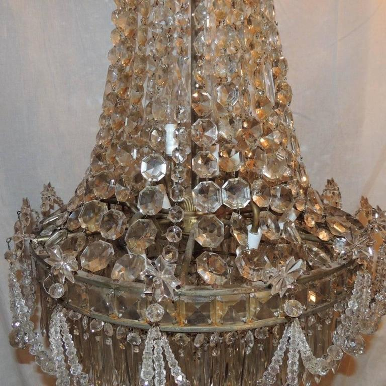 Mid-20th Century Wonderful French Silvered Bronze Graduated Crystal Tier Waterfall Chandelier For Sale