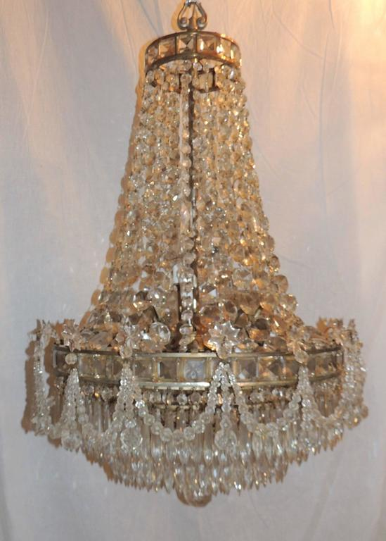 Neoclassical Wonderful French Silvered Bronze Graduated Crystal Tier Waterfall Chandelier For Sale