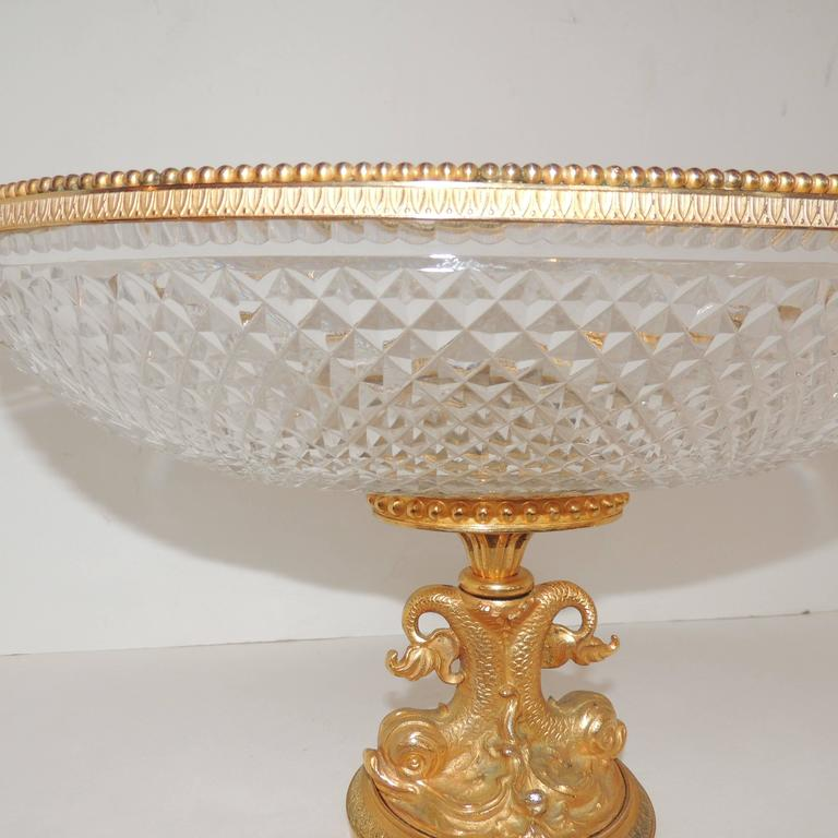 Neoclassical Wonderful French Cut Crystal and Dore Gilt Bronze Dolphin Motif Oval Centerpiece For Sale