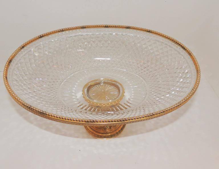 Faceted Wonderful French Cut Crystal and Dore Gilt Bronze Dolphin Motif Oval Centerpiece For Sale