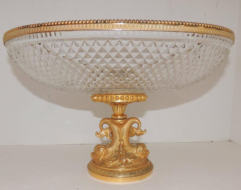Wonderful French Cut Crystal and Dore Gilt Bronze Dolphin Motif Oval Centerpiece In Good Condition For Sale In Roslyn, NY
