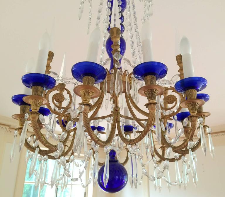 Wonderful pair french dor bronze cobalt blue glass crystal regency chandeliers a wonderful pair of french dor bronze with cobalt blue center shaft ball and accent aloadofball Choice Image