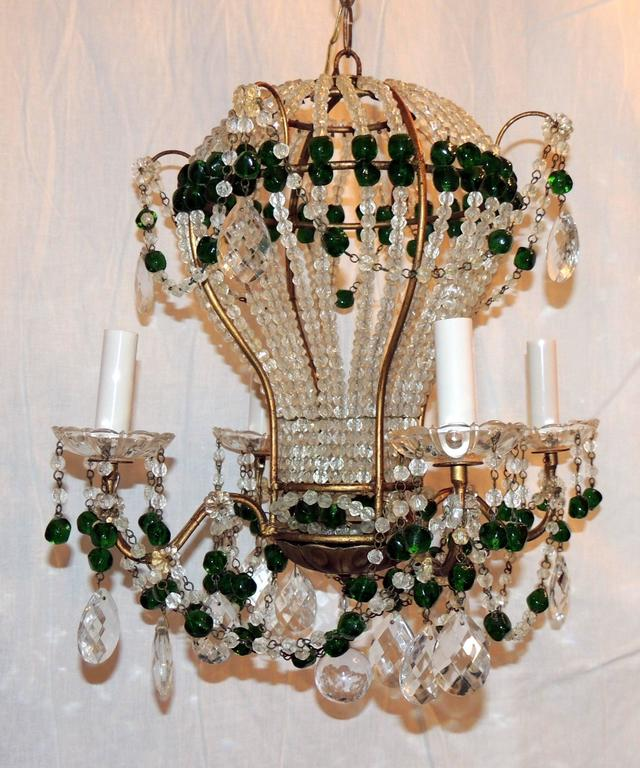Wonderful Pair Emerald Green Beaded Crystal Hot Air ...