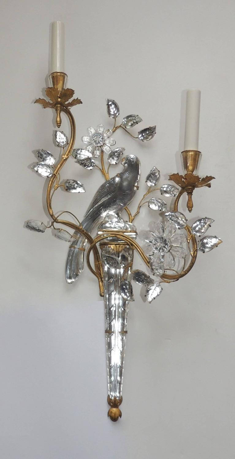 Wonderful Vintage Pair Of Gilt and Rock Crystal Bagues Flower Bird Parrot Sconces at 1stdibs