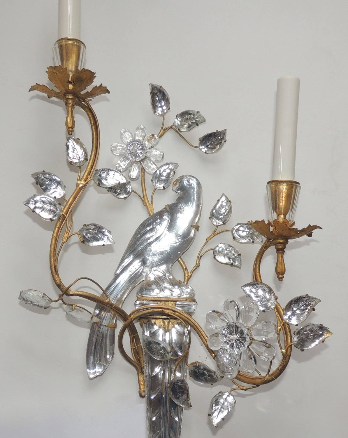 Wall Sconces With Birds : Wonderful Vintage Pair Of Gilt and Rock Crystal Bagues Flower Bird Parrot Sconces at 1stdibs