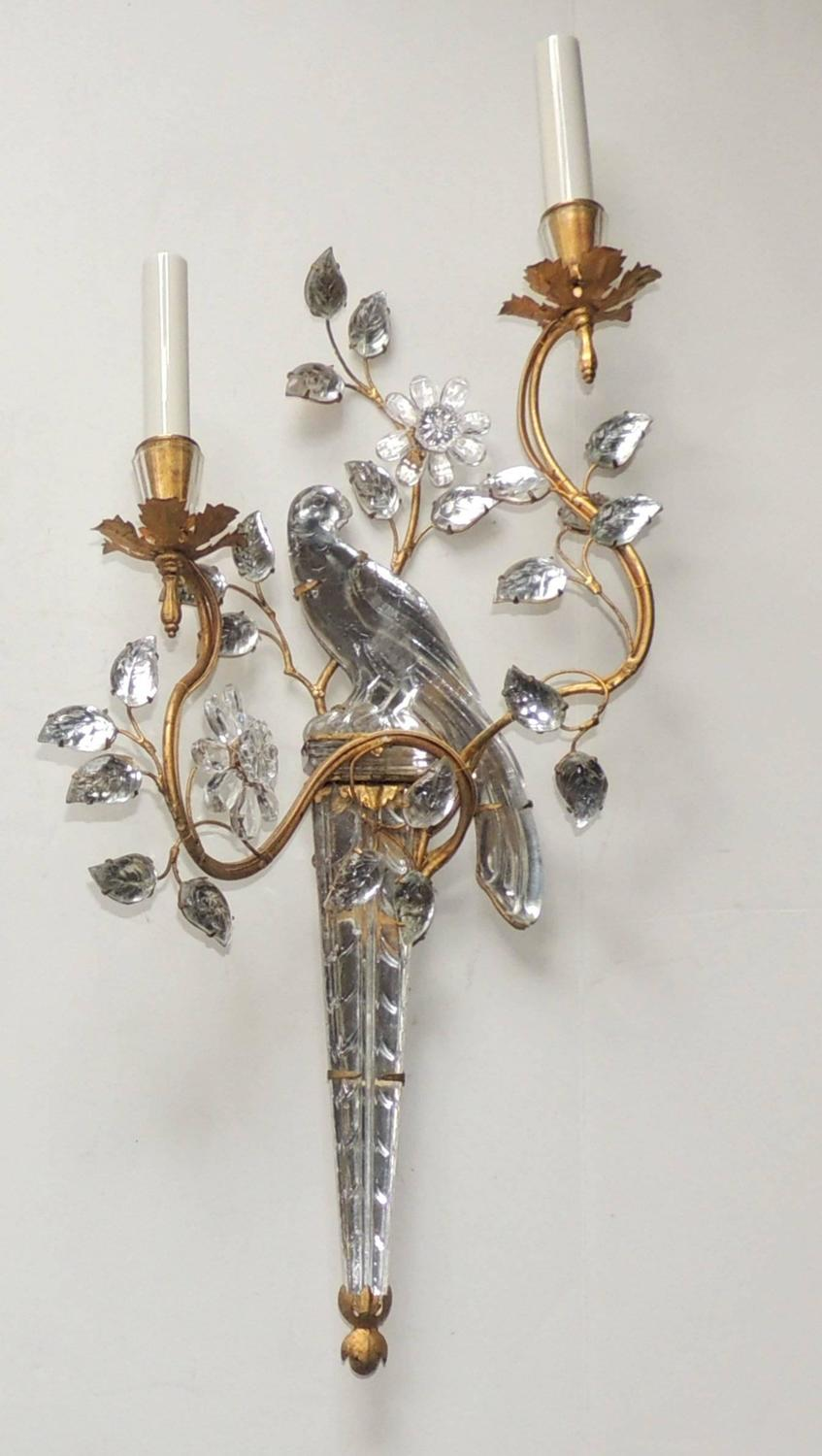 Crystal Bird Wall Sconces : Wonderful Vintage Gilt and Rock Crystal Bagues Flower Bird Parrot Jansen Sconce For Sale at 1stdibs