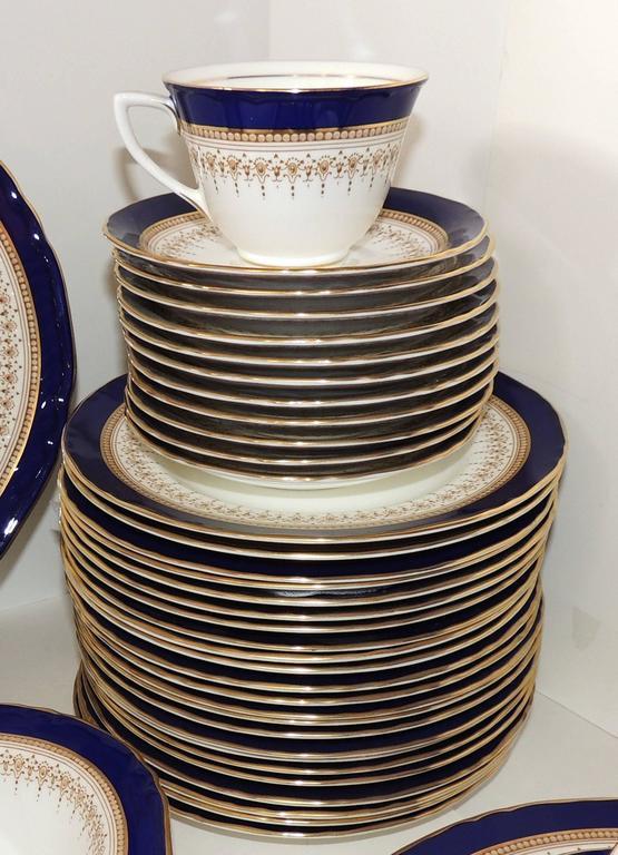 Wonderful Full Service 12 Royal Worcester Regency Royal Blue Fine