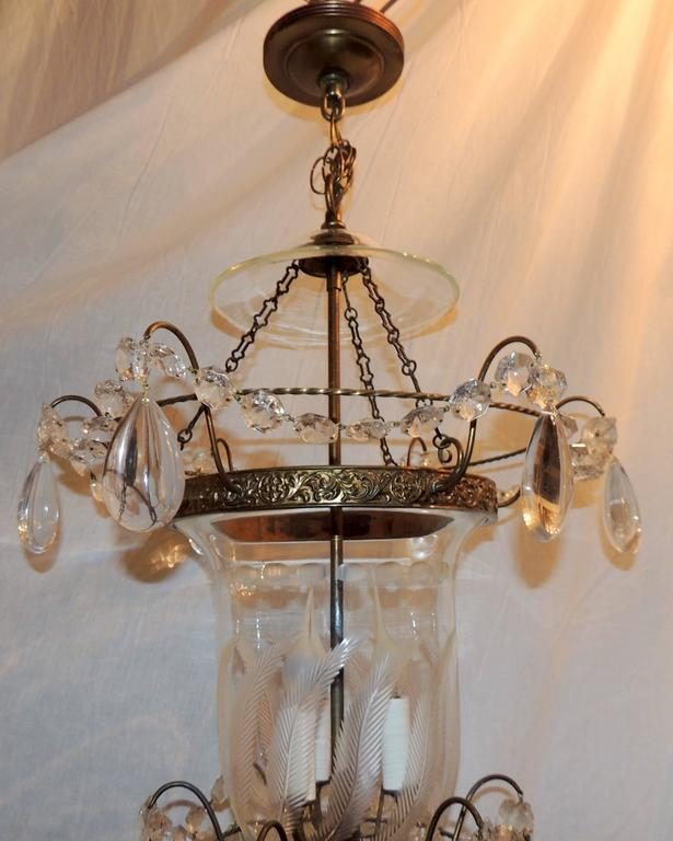 A Wonderful Etched Glass Leaf Design Bronze Mounted With Crystals And Swags  In The Regency
