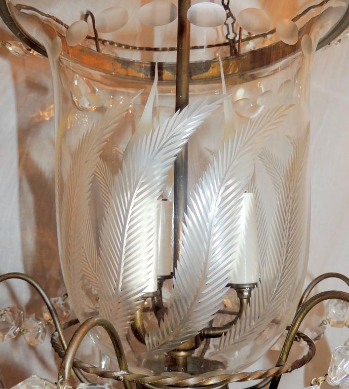 Mid 20th Century Wonderful Etched Glass Leaf Bronze Crystal Regency  Neoclassical Bell Jar Lantern For