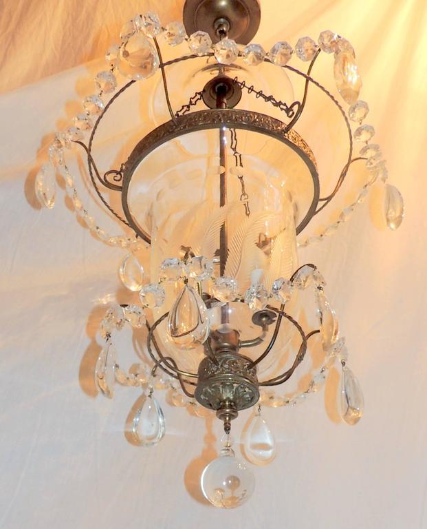 Wonderful Etched Glass Leaf Bronze Crystal Regency Neoclassical Bell Jar  Lantern For Sale 3