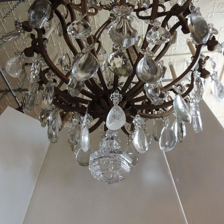 Majestic Gilt French Twelve-Light Rock Crystal Large Chandelier Bagues Fixture For Sale 6
