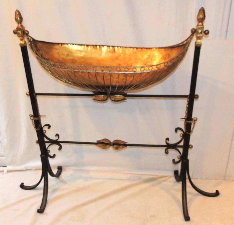 Wonderful French Wrought Iron Copper Gilt Tole Bird Bath Planter Swing  Stand. The Planter Is