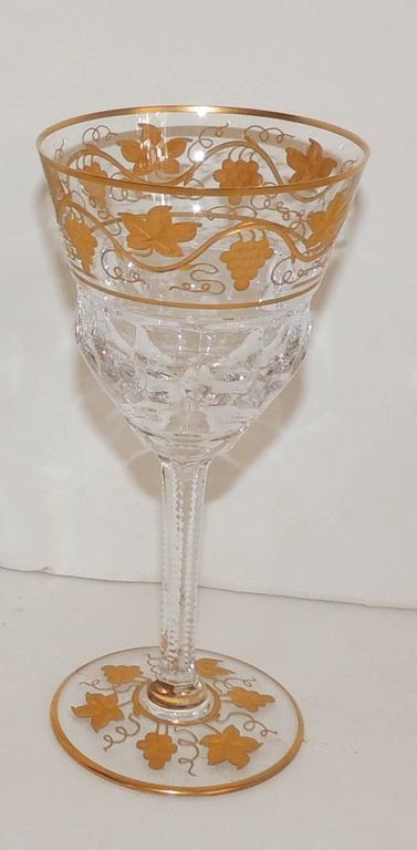 Mid-20th Century Wonderful Val St Lambert Pampre D'or 23 Piece Water Wine Crystal Stemware Set