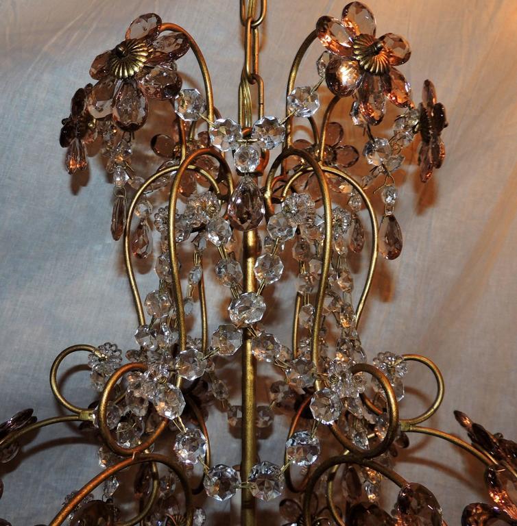 Mid Century Modern Wonderful Pair Of Bagues Italian Basket Form Amethyst Crystal Flower Chandeliers For
