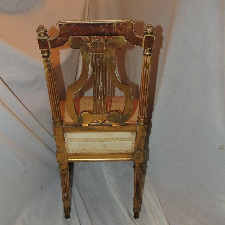 Wonderful Dining Room Benches With Backs: Wonderful Set Of Five French Gold Gilt Carved Harp Lyre