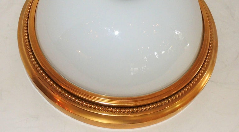 Neoclassical Wonderful Sherle Wagner Dore Bronze White Dome Glass Flush Mount Fixture For Sale