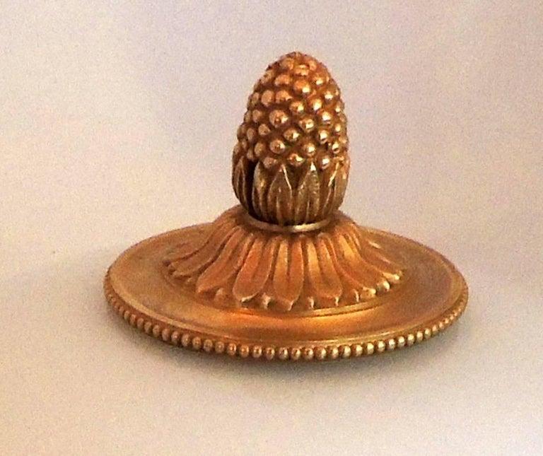 Gilt Wonderful Sherle Wagner Dore Bronze White Dome Glass Flush Mount Fixture For Sale