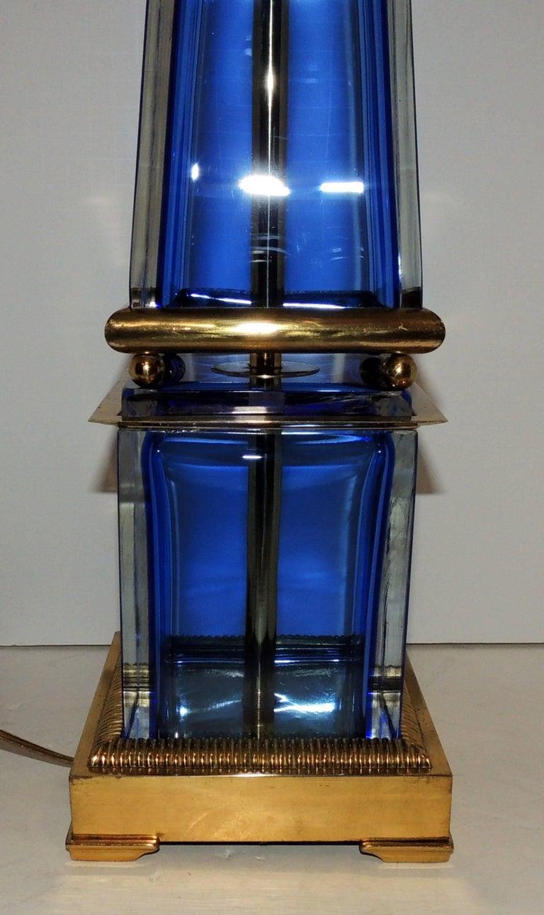 20th Century Mid-Century Modern Pair Murano Blue Art Glass Brass Bronze Obelisk Marbro Lamps