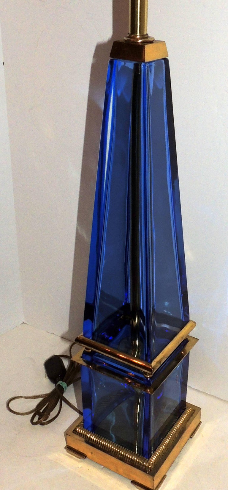 Mid-Century Modern Pair Murano Blue Art Glass Brass Bronze Obelisk Marbro Lamps 2